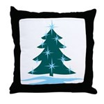 Blue Christmas Tree Throw Pillow