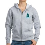 Blue Christmas Tree Women's Zip Hoodie