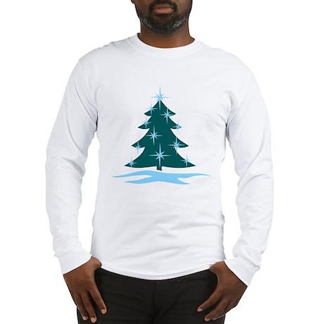 Blue Christmas Tree Long Sleeve T-Shirt