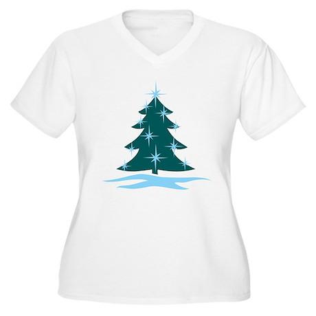 Blue Christmas Tree Women's Plus Size V-Neck T-Shi