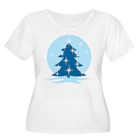 Blue Christmas Tree Women's Plus Size Scoop Neck T