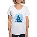 Blue Christmas Tree Women's V-Neck T-Shirt