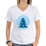 Blue Christmas Tree Women's V-Neck T-Shirt
