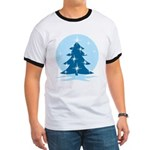 Blue Christmas Tree Ringer T