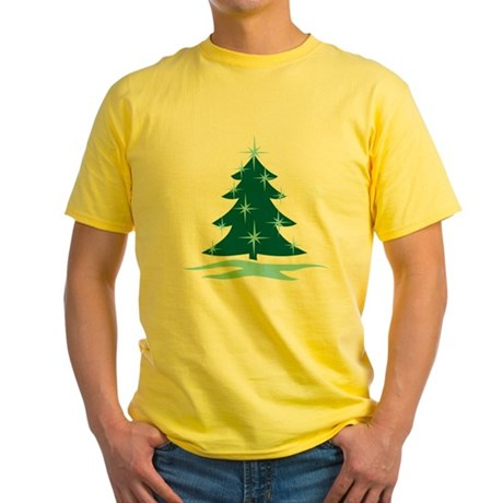 Blue Christmas Tree Yellow T-Shirt