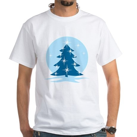 Blue Christmas Tree White T-Shirt