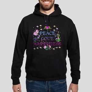 Peace Love Happiness Hoodie (dark)