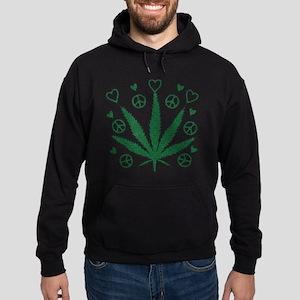 Peace Love Weed Hoodie (dark)