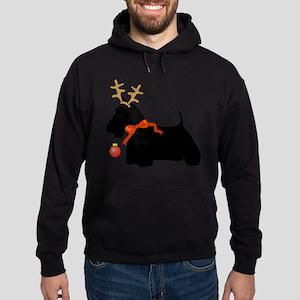 Scottie Dog Reindeer Hoodie (dark)