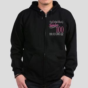 100th Birthday Gift Zip Hoodie (dark)