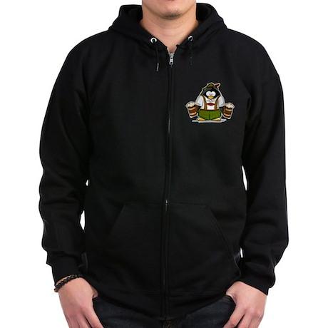 Oktoberfest Boy Penguin Zip Hoodie (dark)