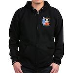 Surfing Macaroni Penguin Zip Hoodie (dark)