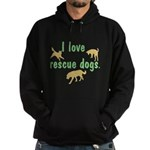 I Love Rescue Dogs Hoodie (dark)
