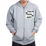 I Love Rescue Mutts Zip Hoodie