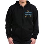 Ask Me About Rescue Dogs Zip Hoodie (dark)