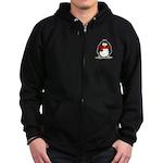 Red Scarf Penguin Zip Hoodie (dark)