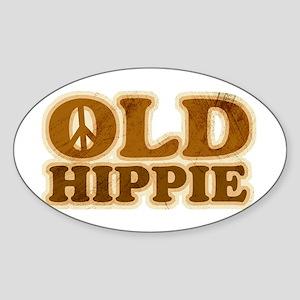 Old Hippie Peace Oval Sticker