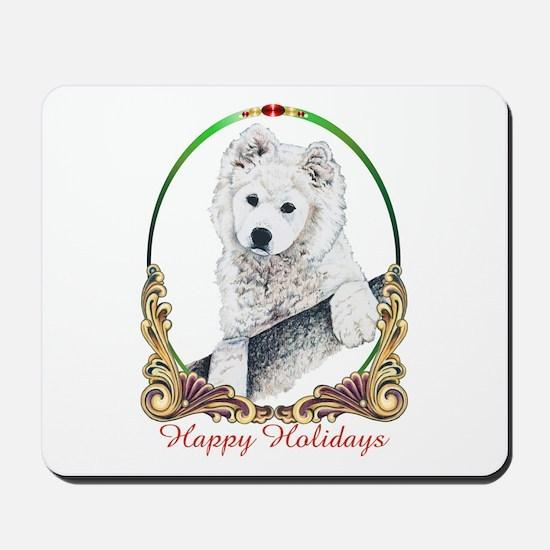 Samoyed Puppy Holiday Mousepad
