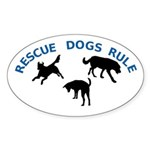 Rescue Dogs Rule Shadow Dogs Oval Sticker (10 pk)