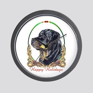 Rottweiler Happy Holidays Wall Clock