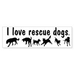 I Love Rescue Dogs Bumper Sticker (50 pk)