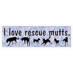 I Love Rescue Mutts (2) Bumper Sticker (50 pk)