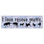 I Love Rescue Mutts (2) Bumper Sticker (10 pk)