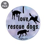"I Love Rescue Dogs (Blue) 3.5"" Button (10 pac"