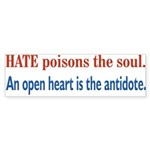 Hate Poisons the Soul Bumper Sticker (50 pk)