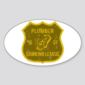 Plumber Drinking League Oval Sticker
