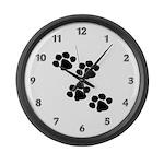 Pet Paw Prints Large Wall Clock