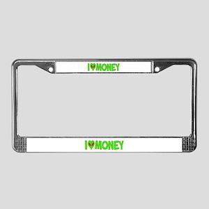 I Love-Alien Money License Plate Frame