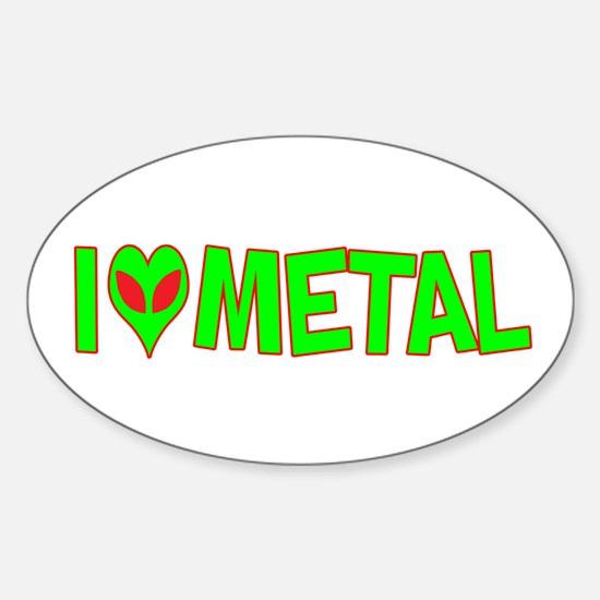 I Love-Alien Metal Oval Decal