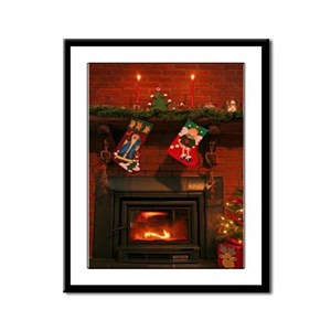 Primitive Country Fireplace Framed Panel Print