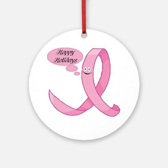 Happy holidays pink ribbon Ornament (Round)