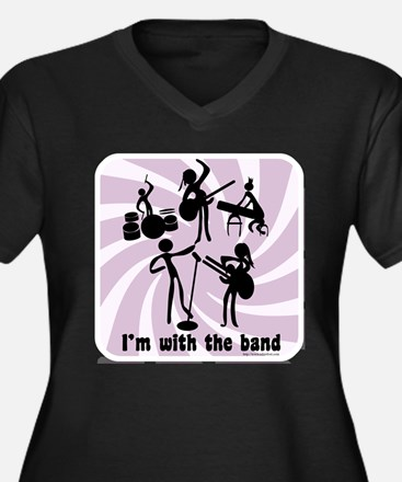 With the Band Women's Plus Size V-Neck Dark T-Shir