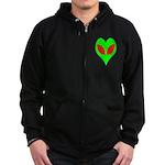 Alien Heart Zip Hoodie (dark)