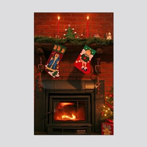 Primitive Country Fireplace Mini Poster Print