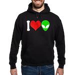 I Love Aliens Hoodie (dark)