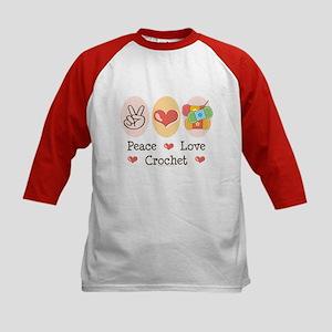 Peace Love Crochet Kids Baseball Jersey
