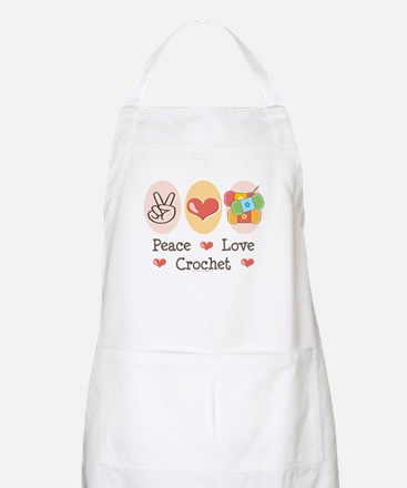 Peace Love Crochet BBQ Apron