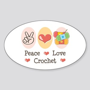 Peace Love Crochet Oval Sticker