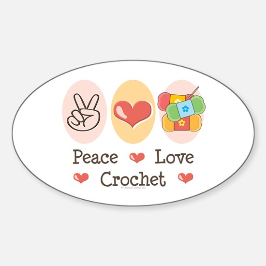 Peace Love Crochet Oval Decal