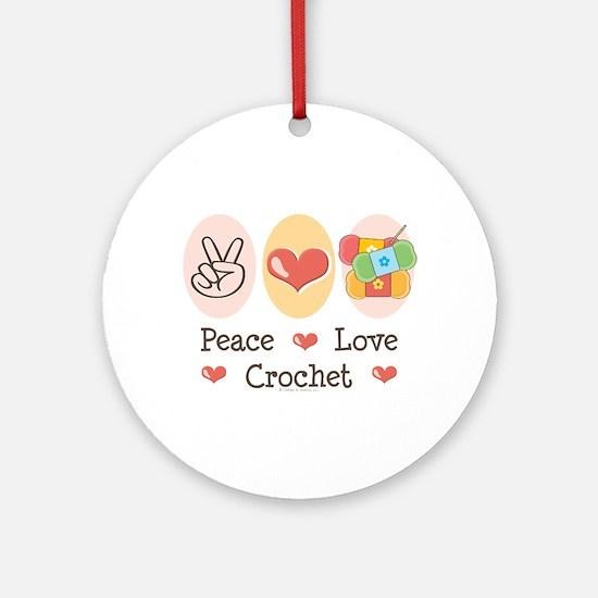 Peace Love Crochet Ornament (Round)