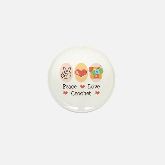 Peace Love Crochet Mini Button