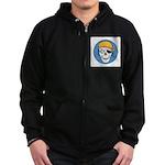 Colored Pirate Skull Zip Hoodie (dark)