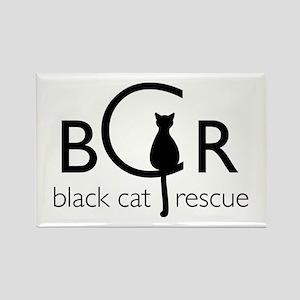 Black Cat Rescue Rectangle Magnet