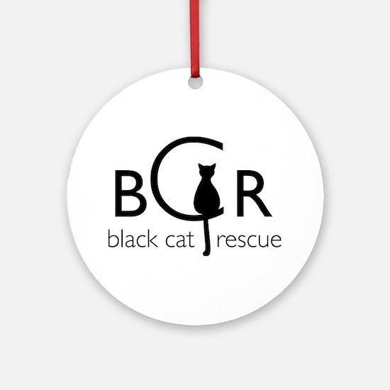 Black Cat Rescue Ornament (Round)