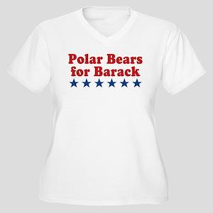 Polar Bears For Barack Women's Plus Size V-Neck T-