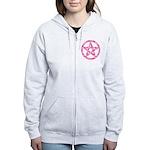 Pink Camo Pentagram Women's Zip Hoodie